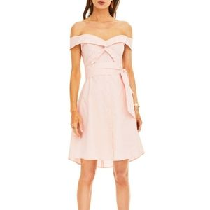 ASTR Pink Brittany Off Shoulder Sash Shirt Dress